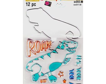 Tyrannosaurus Rex Dinosaur Clear Stamps /& Dies Set By Recollections 535936 NEW