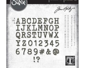 Alphanumeric Sizzix Thinlits Die Set 76PK Cutout Upper Tim Holtz 663073