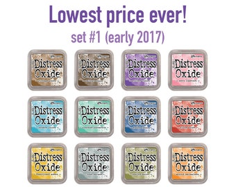 Distress Oxide ink pads by Tim Holtz, set #1 (early 2017), all 12 Colors