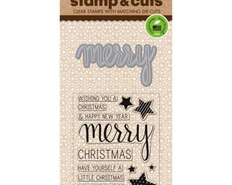 Hero Arts Stamp & Cuts: MERRY CHRISTMAS, clear stamps with metal die set (DC170) - SD116
