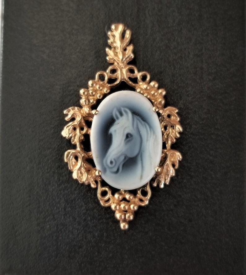 Equestrian Blue Agate 14K Cameo Pendant