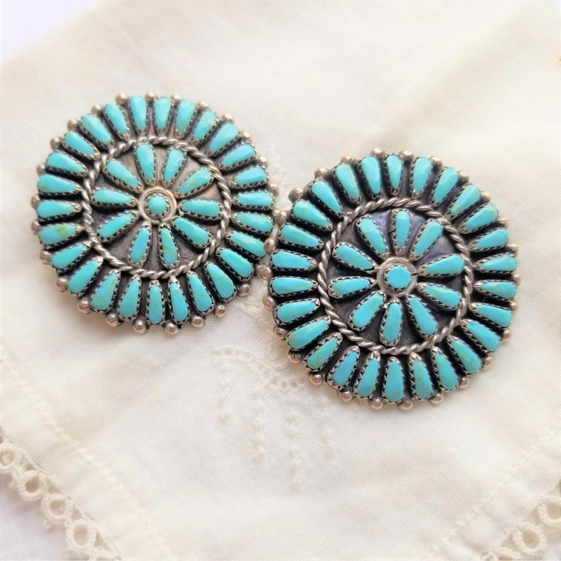 87.50 paid on 350.00 DO NOT purchase this item Petit Point Sterling Turquoise Estate Vintage Push Back Earrings RESERVED for Katie Huff