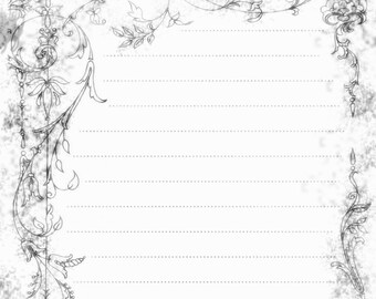 Printable Pen and Ink Tree Drawing Lined Journal Page