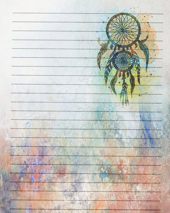 Printable Journal Page Bohemian Dreamcatcher Stationery 8 ...