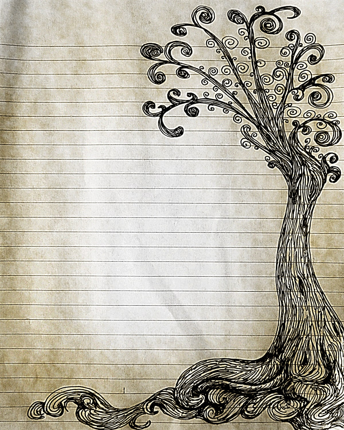 picture regarding Free Printable Journal Pages Lined named Printable Pen and Ink Tree Drawing Covered Magazine Site, Electronic Protected Creating Paper, Electronic Stationery, Tree Paper, Paper Products