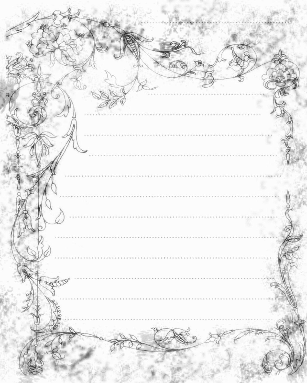 Printable Journal Page Filigree Swirls Paper Digital Lined ...