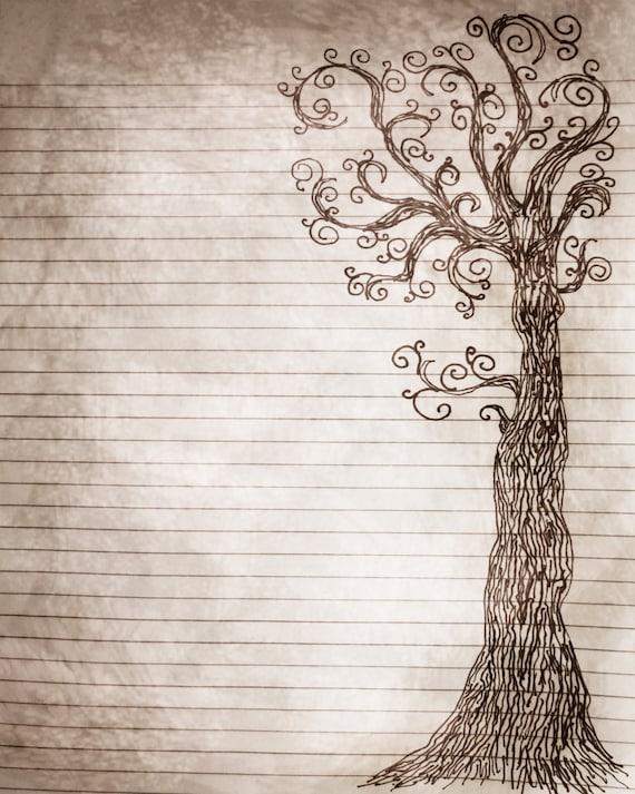 Página imprimible del diario pluma y tinta de dibujo de un   Etsy