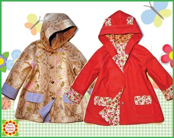 Hooded Coat Sewing Pattern Children + Free Mother-Daughter Apron Pattern, Girls Coat PATTERN, 18m-10y, Baby, Toddler Clothing pdf Patterns