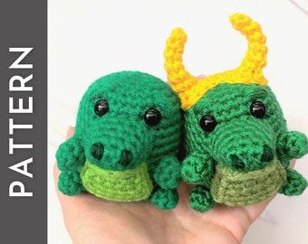Alligator Bean PATTERN - crochet PDF pattern - cute alligator or crocodile amigurumi with horns