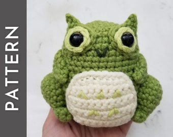 Hoobit the Owl Toad PATTERN - frog crochet pattern - amigurumi crochet instructions