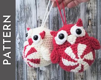 Peppermint Owl amigurumi crochet PATTERN - Christmas tree ornament - Holiday gift idea