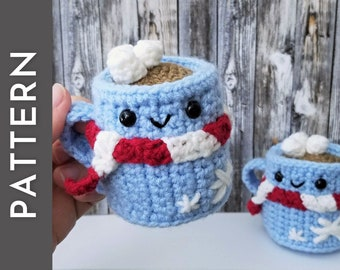 Little Hot Choccy amigurumi crochet PATTERN - cup of hot chocolate Christmas tree ornament - cute Holiday gift idea - Christmas in July mug