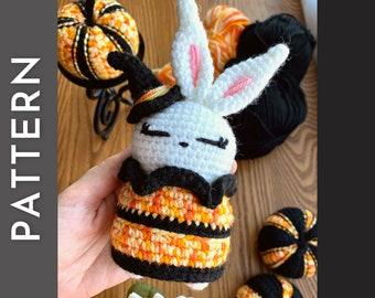 Halloween Hoppy PATTERN - bunny rabbit crochet PDF pattern - halloween witch costume bunny amigurumi