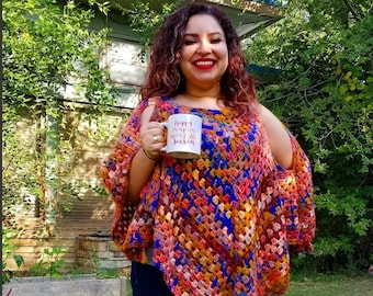 Crochet Open Shoulder Fall Poncho Ready to Ship Today