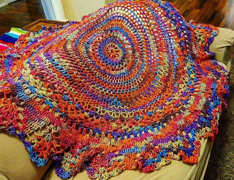 Crochet Throw Blanket Handmade Boho Afghan Lap Blanket image 0
