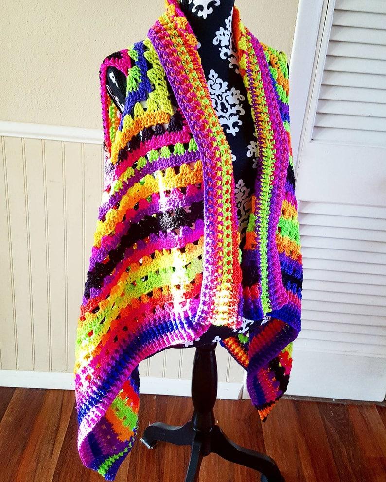 Ready to Ship Crochet Neon Blacklight Serape Cardigan Vest image 0