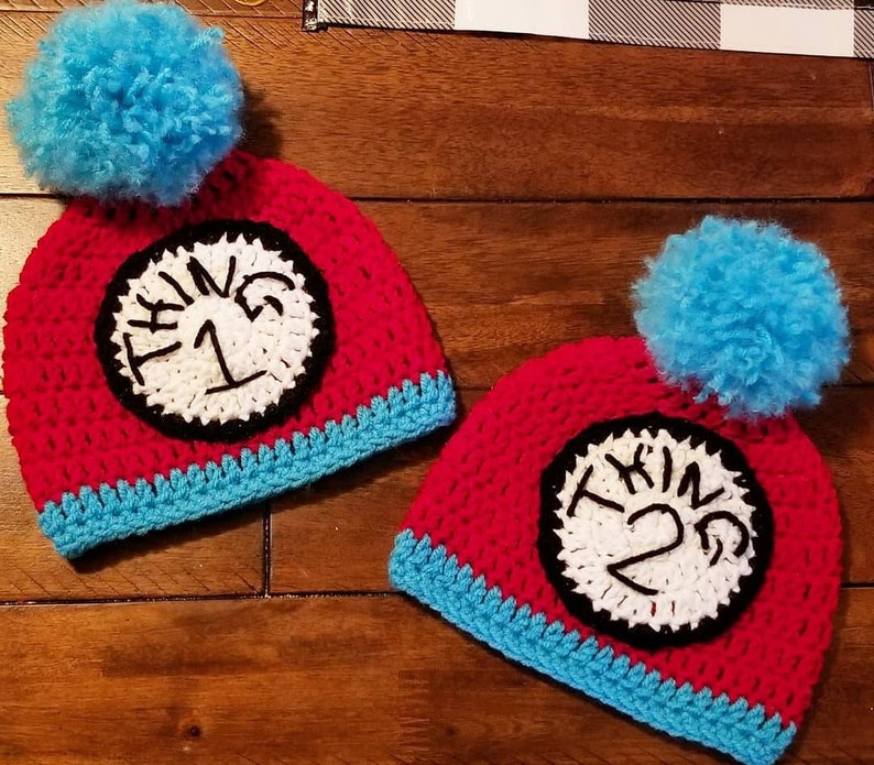 Crochet Thing 1 and Thing 2 Hats image 0