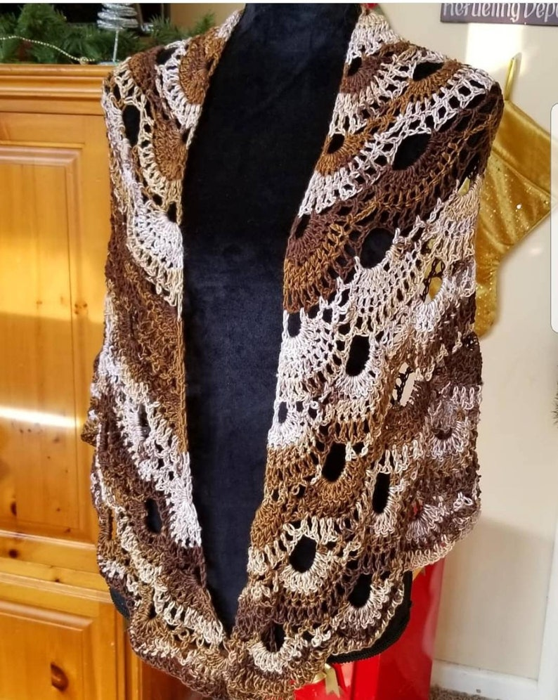 Ready to Ship Today Cafe Con Leche Crochet Shawl image 0