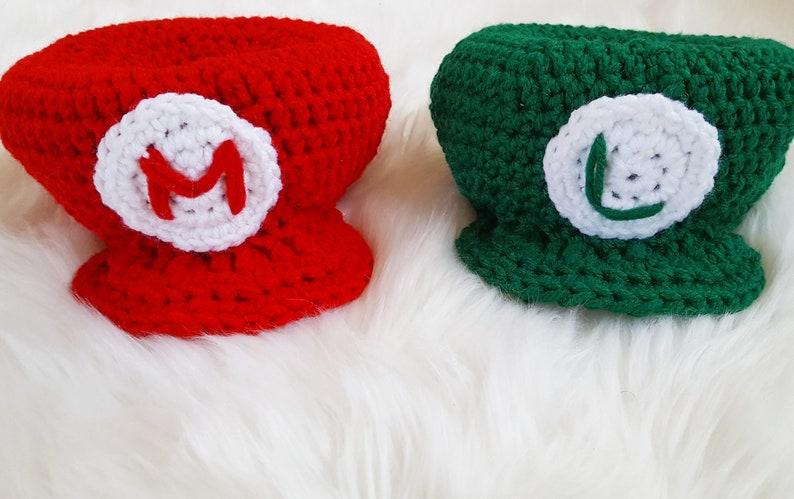 Crochet Mario and Luigi Inspired Character Hat image 0