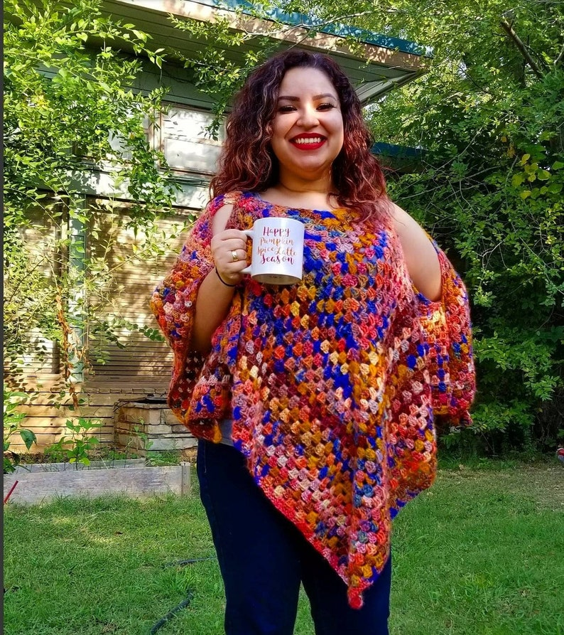 Crochet Open Shoulder Fall Poncho Ready to Ship Today image 1