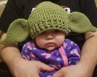 Crochet Yoda Inspired Hat Made to Order