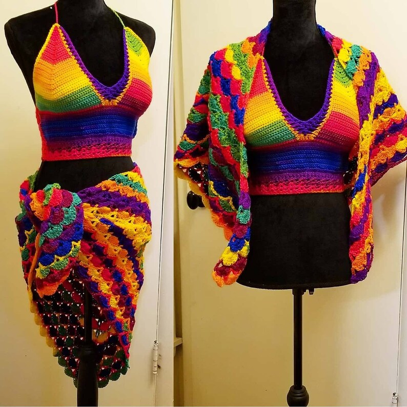 Tropical Crochet Halter and Matching Wrap Ready To Ship Today image 0