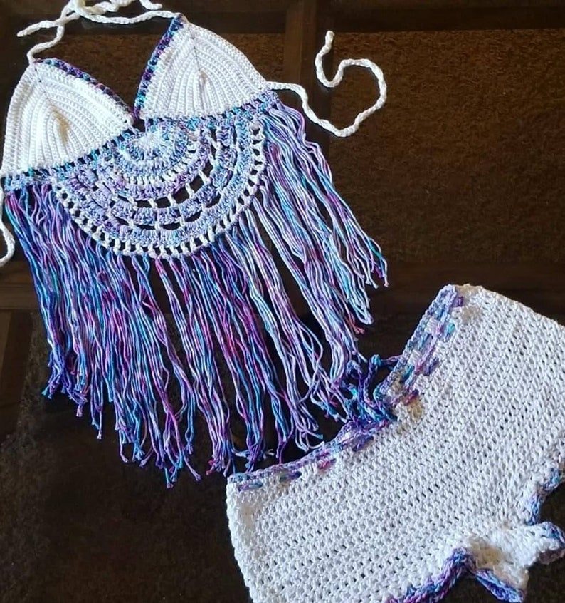 Ready to Ship Hand Dyed Crochet Beachwear 2 Piece Halter and image 0