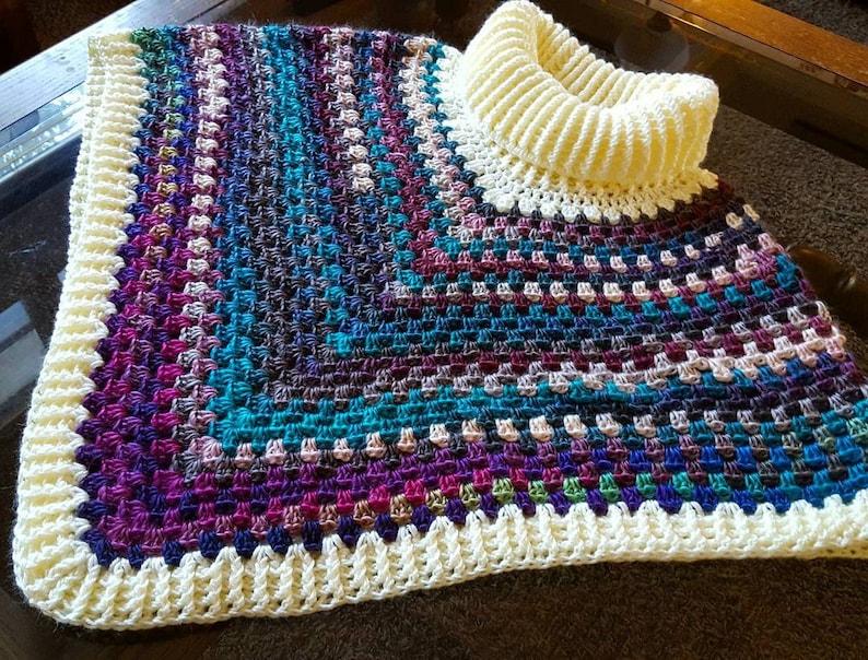 Ready to Ship Crochet Blueberry Cream Cowl Poncho image 0