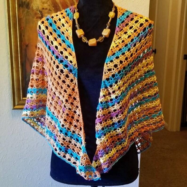Ready to Ship Today Crochet Arabian Nights Shawl Triangle Wrap image 0