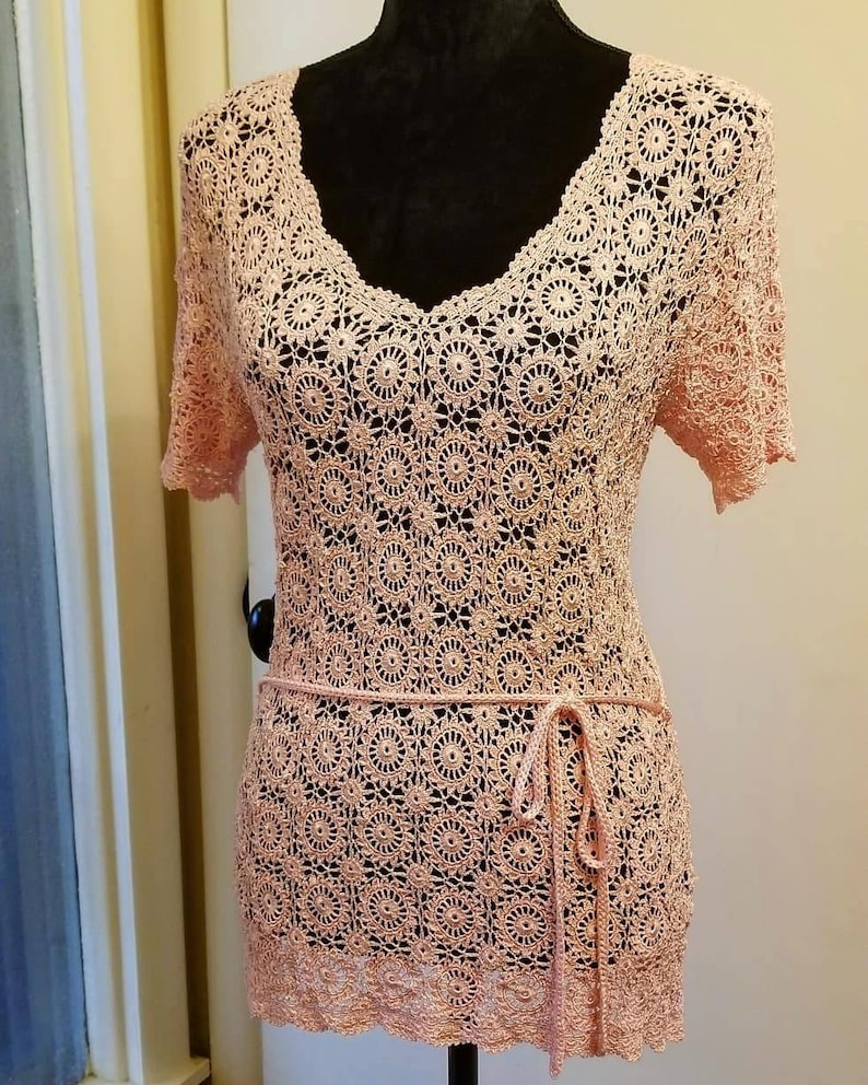 Beautiful Pink Lace Crochet Top Ready to Ship Today image 0