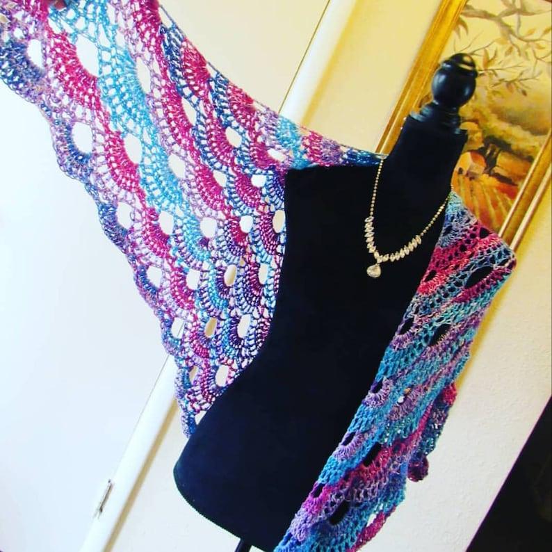Ready to Ship Crochet Cotton Candy Wrap Cape Shawl image 0