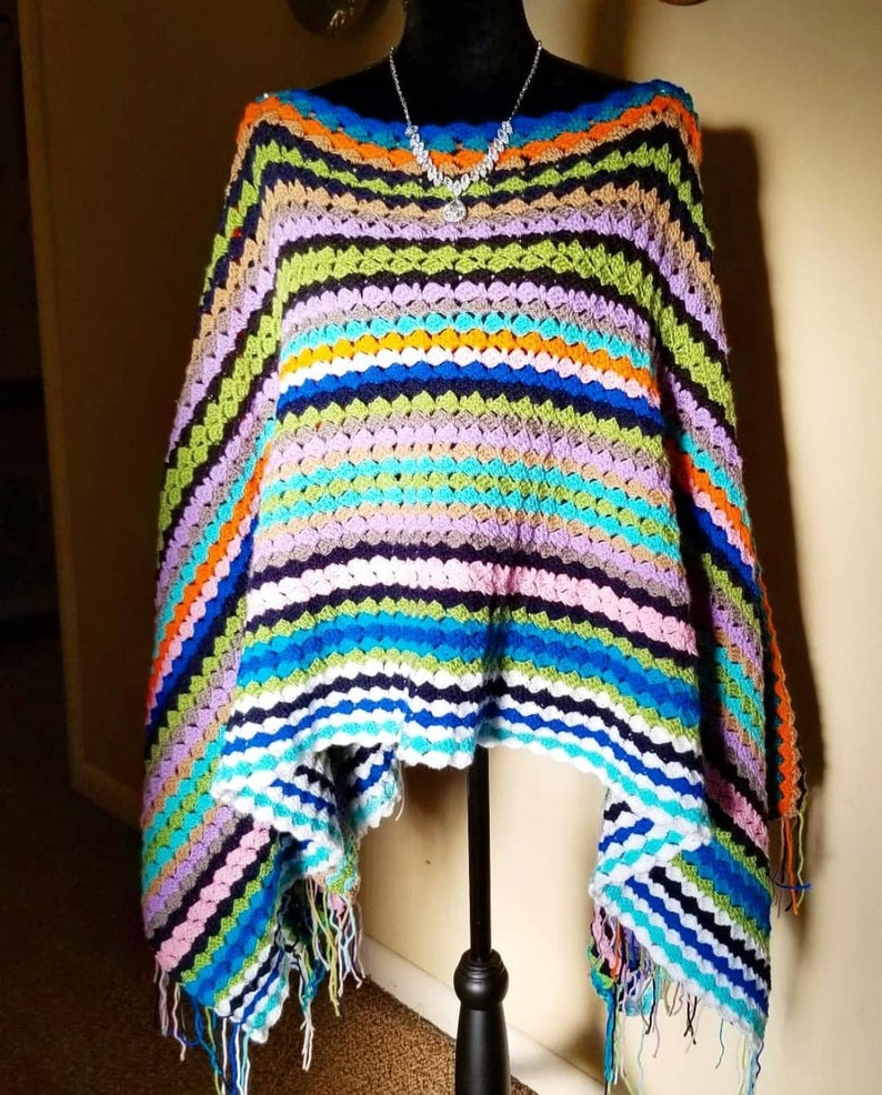 Made To Order Crochet Sophie Poncho Inspired By Mamma Mia 2 image 0