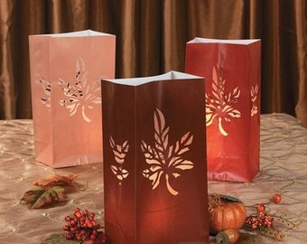 Autumn Fall Leaf Leaves Die Cut Luminary Bags - Pkg of 12 - Multicolor
