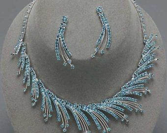 Irresistible Icicle Clear or Blue Winter Theme Rhinestone Necklace & Earrings Set