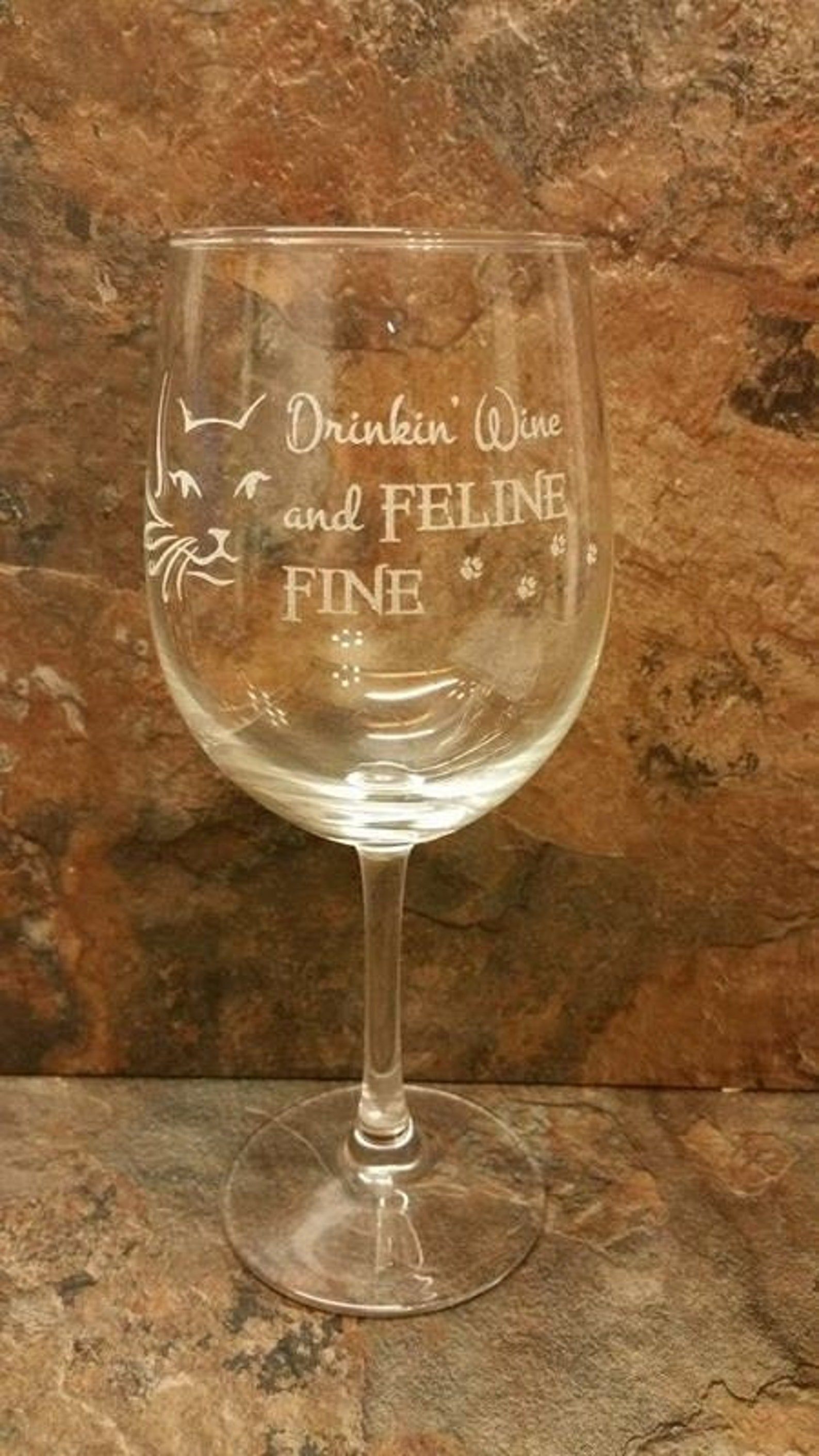 Drinking Wine and Feline Fine Glass Stemless or Stemmed Wine Glass