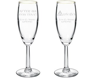 Harry Potter After all this time Always Wedding Special Event Toasting Glasses Flutes - Set of 2