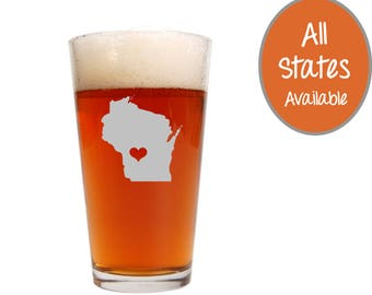 Custom Pint Glass Pick Any State, Pint Glasses, Custom Beer Glass, Beer Glasses, Beer Gifts, Gifts for Dad, Father's Day Gifts Wine Glass