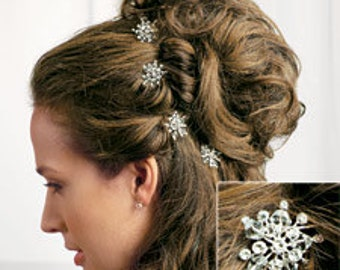 Rhinestone & Crystal Snowflake Hair Picks Winter Wedding - Pkg of 2
