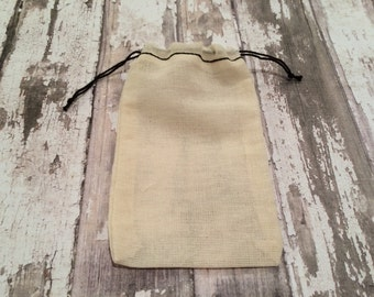 Set of 25 Muslin Double Drawstring Bags, Black Hem, Unprinted Natural Cotton Drawstring Bags, Party Favor, Wedding Favor or Gift Bags.