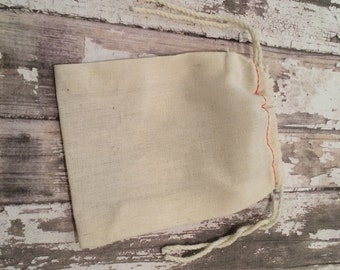 """Set of 25 Cotton Muslin Double Drawstring Bags with Red Stitching, 3 1/2 X 5"""", Unprinted Natural Cotton Bags, Wedding Favor or Gift Bags."""