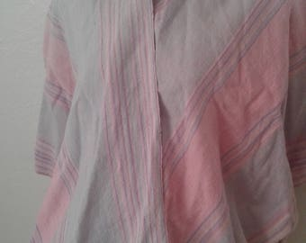 Vtg 90's Short Woven Cape from Mexico  - Pastel Colors