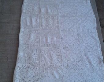 "Vtg 80s White Cotton 80"" x 92"" Crochet Bedspread"