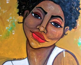 Original 16x20 Modern African American abstract portrait painting Canvas Art