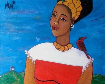 Original 16 x 20 Modern African American Portrait Painting Canvas Art