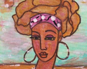 Beach Crown - Original Modern African American Folk Painting Natural Hair Art Card