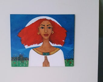 Original 20 x 16 Modern African American Portrait Painting Canvas Art