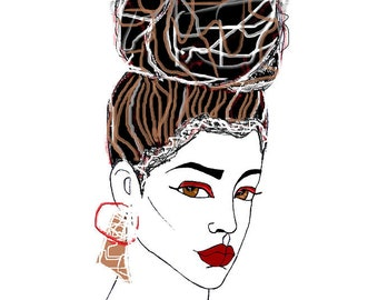 Top Knot - Mini Natural Hair Art Print 5x7
