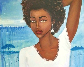 Original 24 x 36 African American Canvas Painting Art