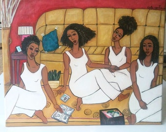 """Sisters Reminiscing Through Old Photos - Original 20"""" x 16"""" Abstract Figurative Acrylic Painting on Canvas ART"""