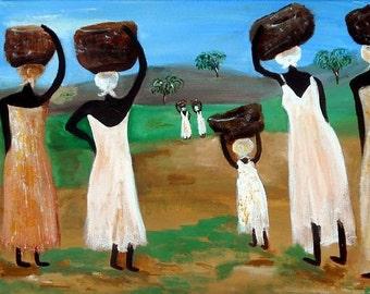 REPLENISHED SOULS - Art Print of Original Haiti Inspired Painting 10x8